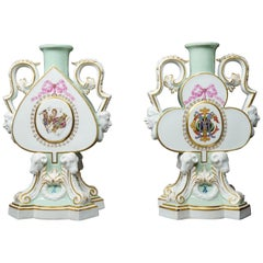 Pair of Meissen Playing Card Theme Candlestick Vases, Litchfield of London, 1876