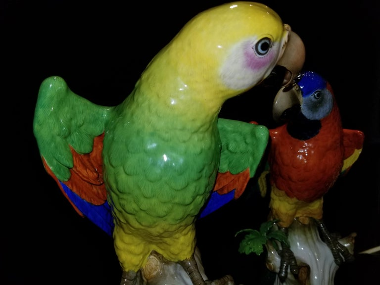 Pair of Meissen Porcelain Figures of Parrots Standing on Branches W/ Cherries For Sale 3