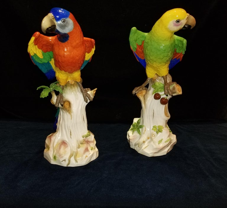 Rococo Pair of Meissen Porcelain Figures of Parrots Standing on Branches W/ Cherries For Sale