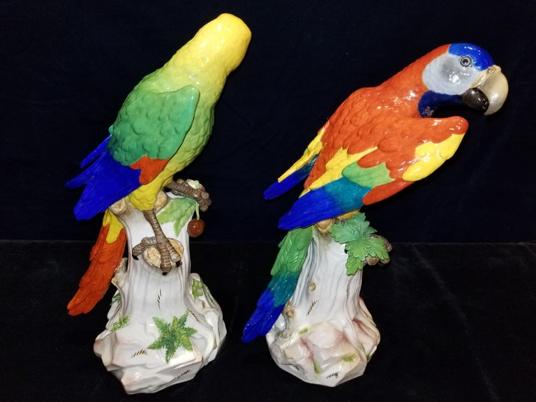 Late 19th Century Pair of Meissen Porcelain Figures of Parrots Standing on Branches W/ Cherries For Sale