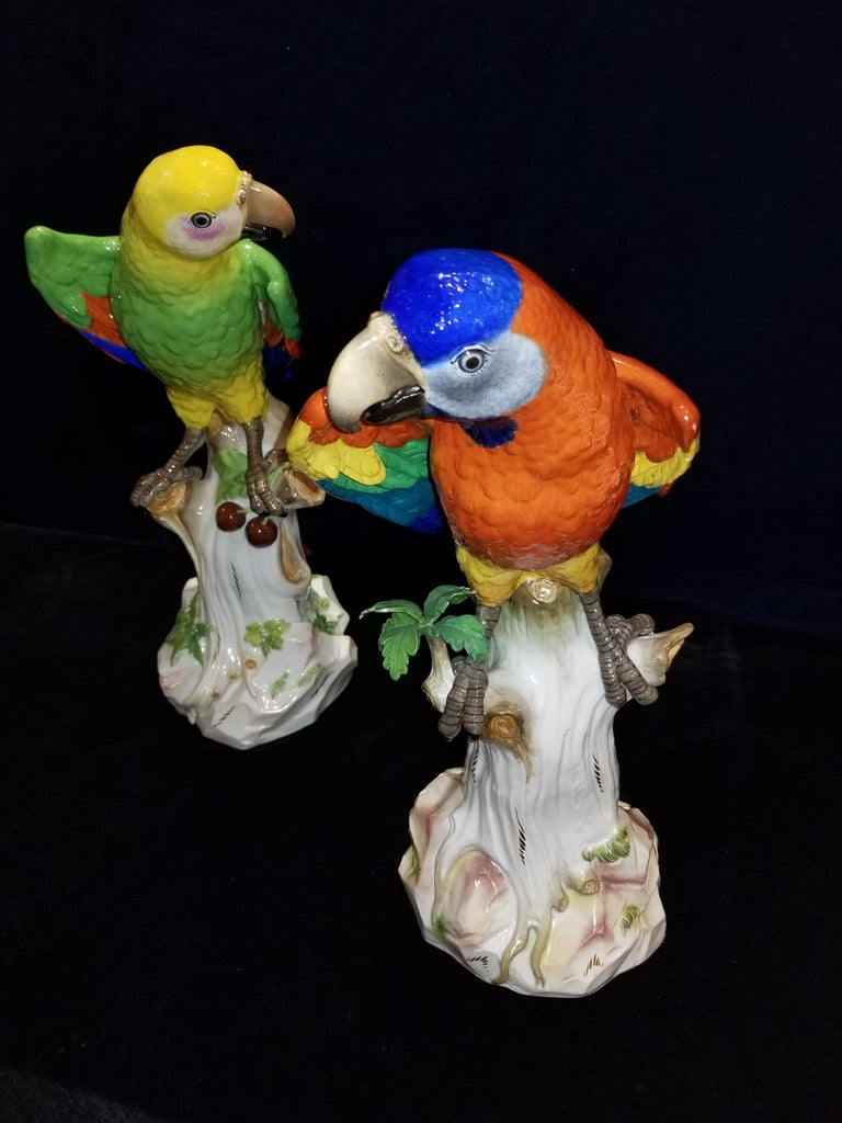 Pair of Meissen Porcelain Figures of Parrots Standing on Branches W/ Cherries For Sale 1