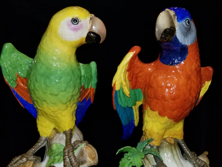 Pair of Meissen Porcelain Figures of Parrots Standing on Branches W/ Cherries For Sale 2