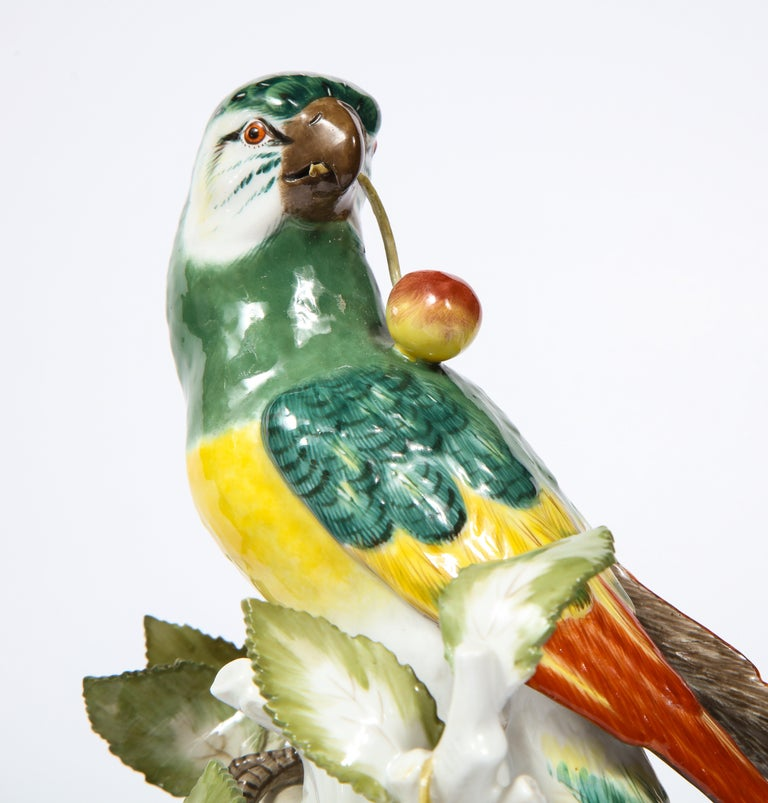Pair of Meissen Porcelain Figures of Parrots with Cherries, Insects and Flowers For Sale 3