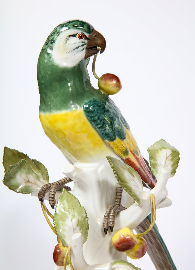 Pair of Meissen Porcelain Figures of Parrots with Cherries, Insects and Flowers For Sale 5