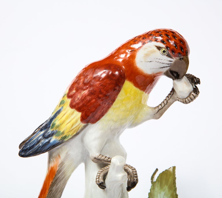 Pair of Meissen Porcelain Figures of Parrots with Cherries, Insects and Flowers For Sale 7