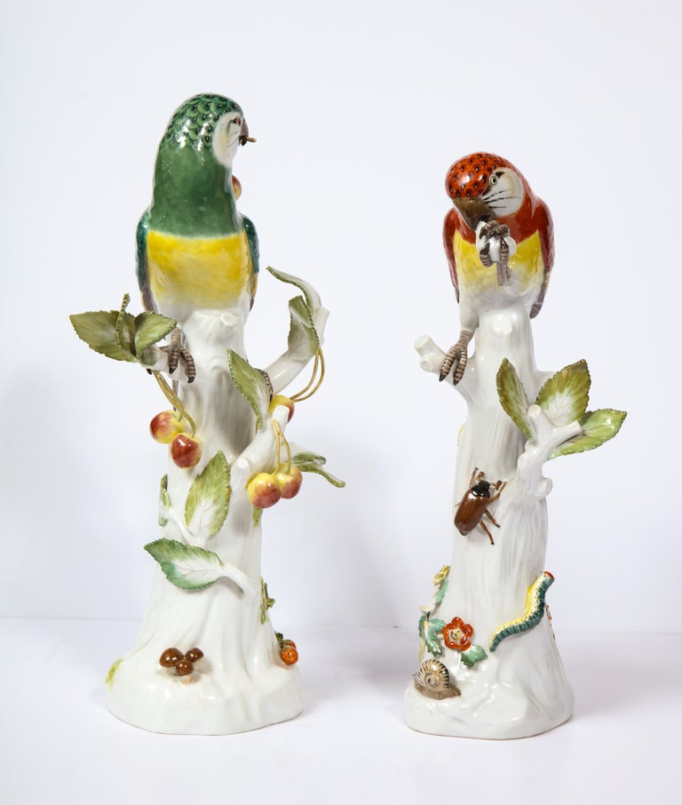 Rococo Pair of Meissen Porcelain Figures of Parrots with Cherries, Insects and Flowers For Sale