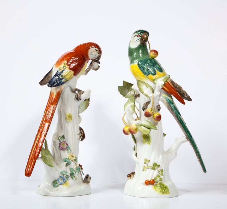 German Pair of Meissen Porcelain Figures of Parrots with Cherries, Insects and Flowers For Sale