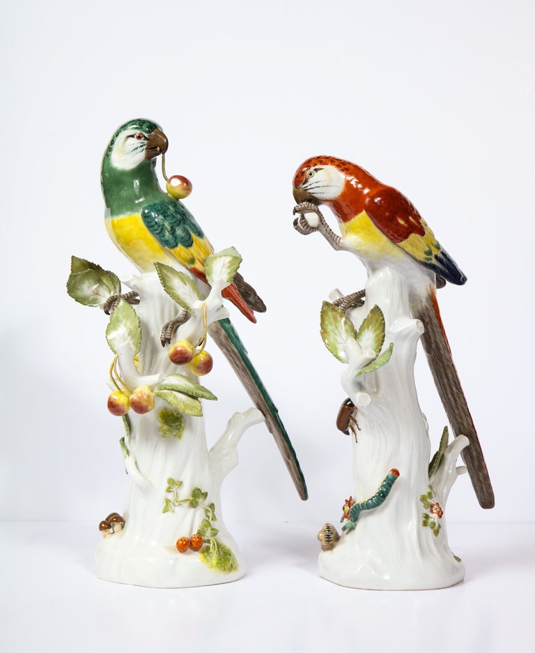 Pair of Meissen Porcelain Figures of Parrots with Cherries, Insects and Flowers In Good Condition For Sale In New York, NY