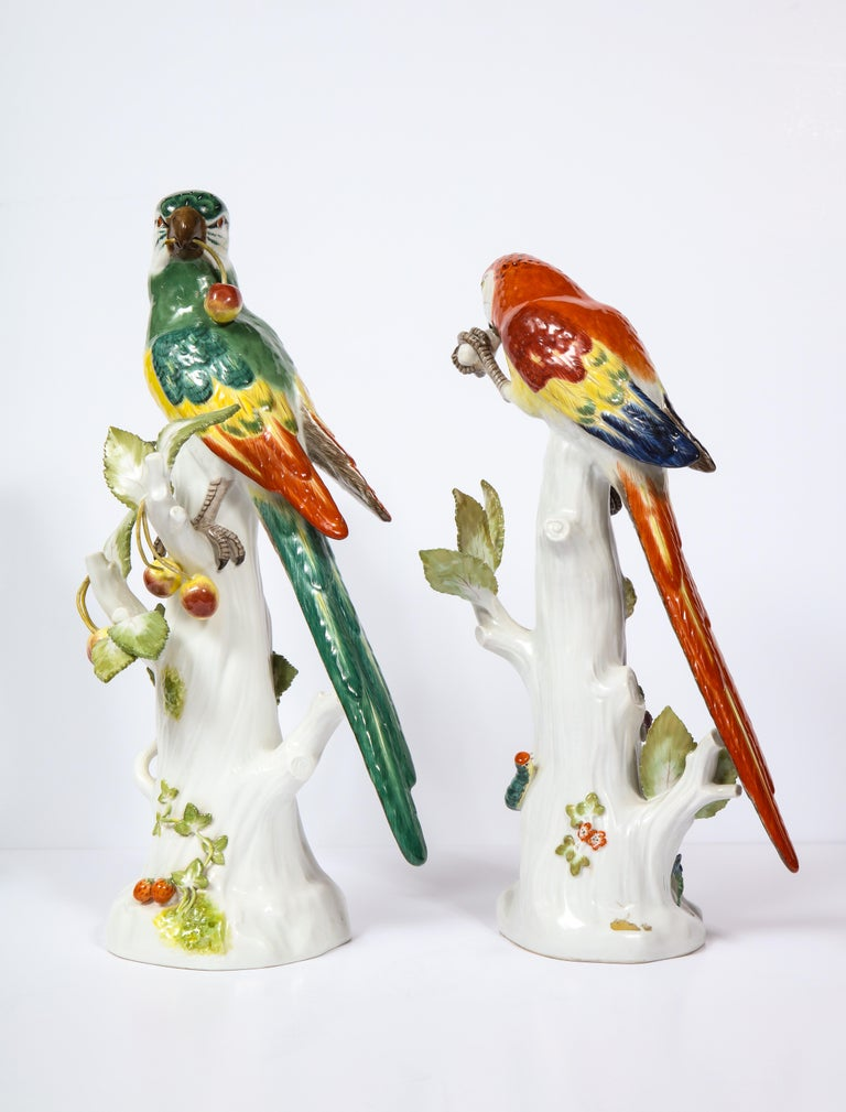 19th Century Pair of Meissen Porcelain Figures of Parrots with Cherries, Insects and Flowers For Sale