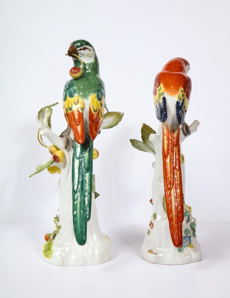 Pair of Meissen Porcelain Figures of Parrots with Cherries, Insects and Flowers For Sale 1