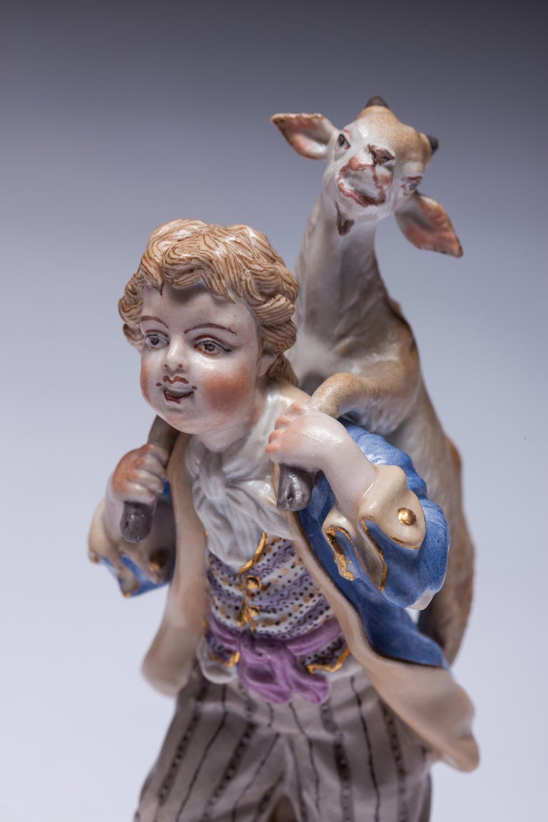 Neoclassical Pair of Meissen Porcelain Figurines Boy Carrying Goat For Sale