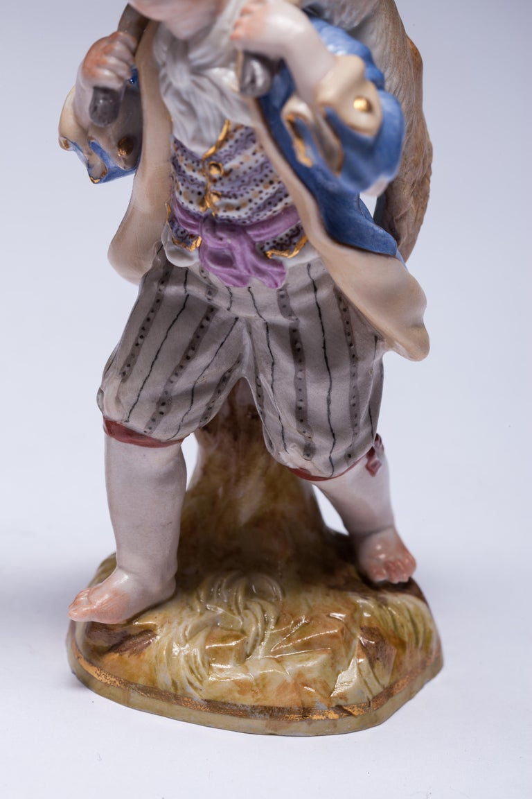 Hand-Painted Pair of Meissen Porcelain Figurines Boy Carrying Goat For Sale
