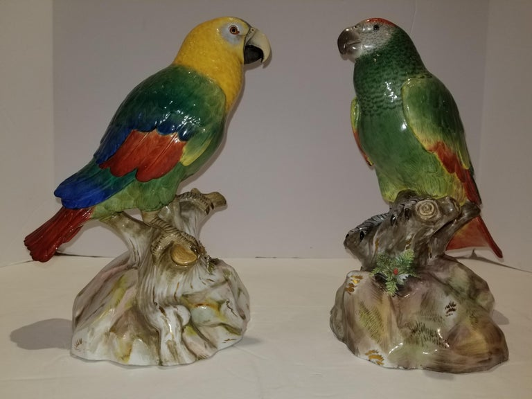 Pair of Meissen Porcelain Models of Parrots In Excellent Condition For Sale In New York, NY
