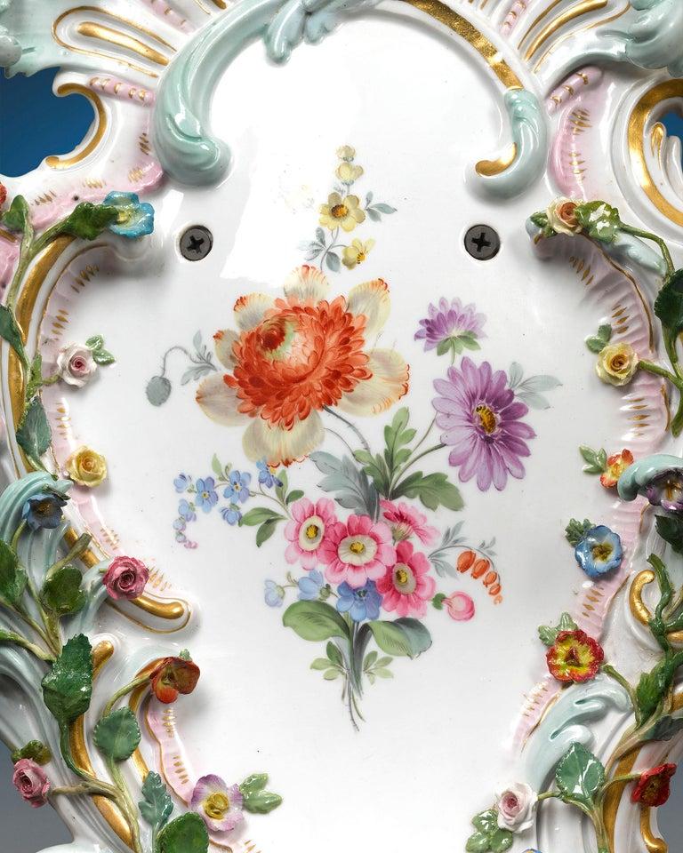 Rococo Pair of Meissen Porcelain Sconces For Sale