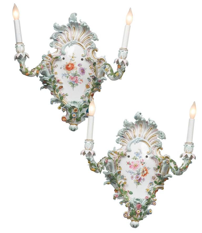 German Pair of Meissen Porcelain Sconces For Sale