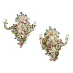 Pair of Meissen Rococo Style Flower Encrusted Wall Appliques / Sconces