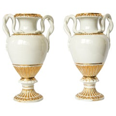 Pair of Meissen Snake Handle Urns