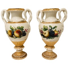 Pair of Meissen Vases with Snake Handles and Different Fruit Paintings