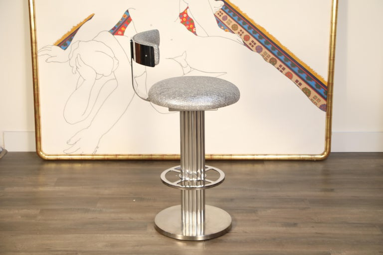 Pair of Memory Swivel Polished Aluminum Barstools by Designs for Leisure, 1980s For Sale 4