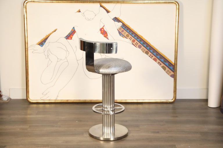 Pair of Memory Swivel Polished Aluminum Barstools by Designs for Leisure, 1980s For Sale 11