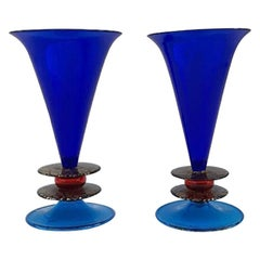 "Pair of ""Memphis"" Vases by Ettore Sottsass for Formia, 1985"