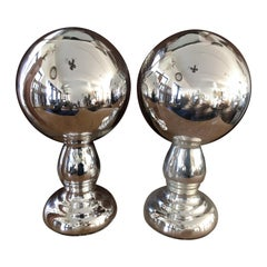 Pair of Mercury Glass Wig Stands