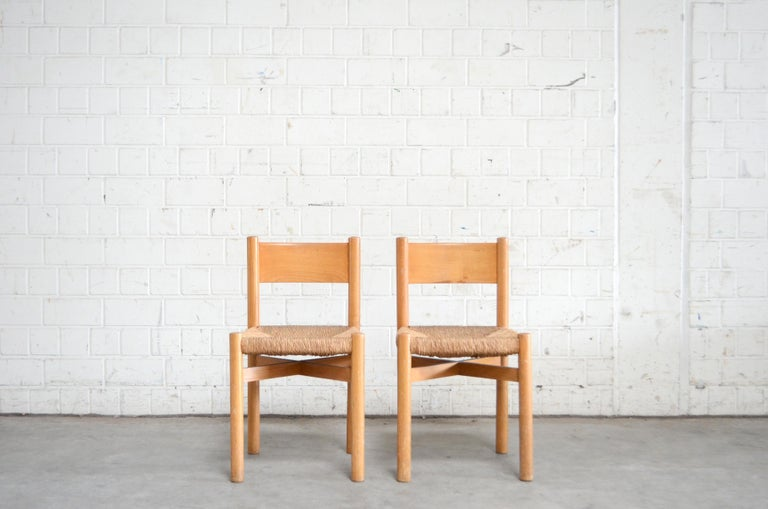 Mid-Century Modern Pair of Meribel Chairs Chair  by Charlotte Perriand, circa 1950 For Sale