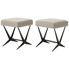 Pair of Metal and Boucle Tournus Stools