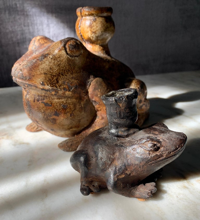 Pair of Metal and Bronze Frog Candleholders For Sale 1