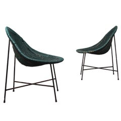 Pair of Metal and Cane Armchairs
