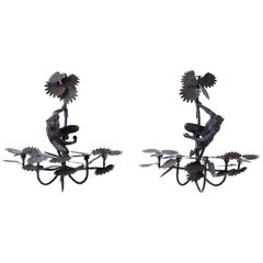 Pair of Metal and Cast Iron Monkey and Palm Sconces