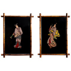 Pair of Metal and Enamel Plaques with Bamboo Frame, France, Late 19th Century