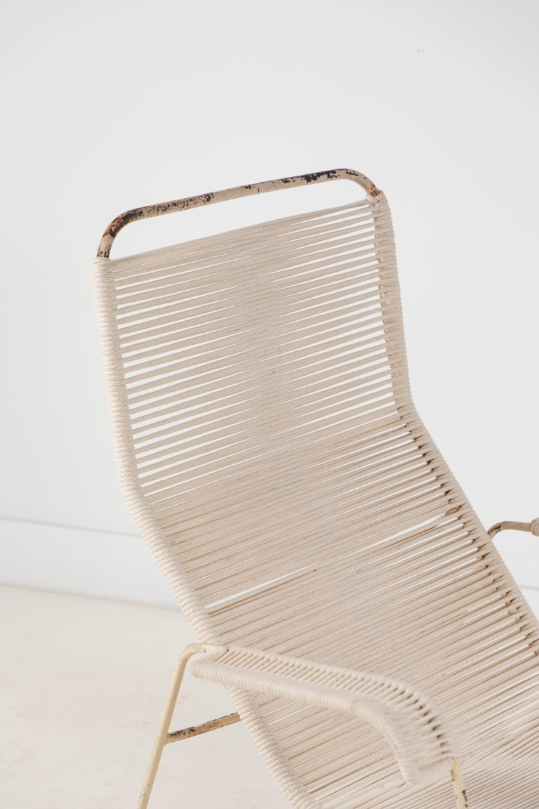 Pair of Metal and Rope Outdoor Lounge Chairs in the Style of Walter Lamb For Sale 6