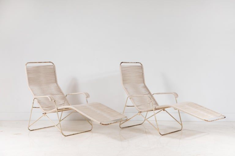 Pair of Metal and Rope Outdoor Lounge Chairs in the Style of Walter Lamb In Good Condition For Sale In Los Angeles, CA