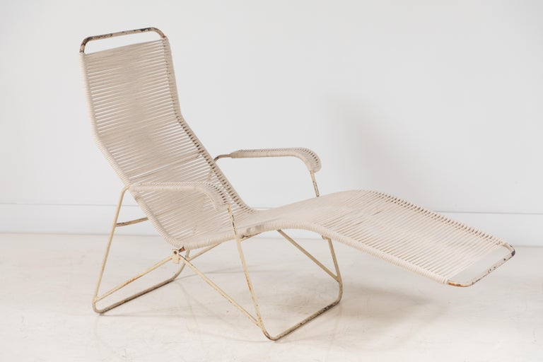 Pair of Metal and Rope Outdoor Lounge Chairs in the Style of Walter Lamb For Sale 1