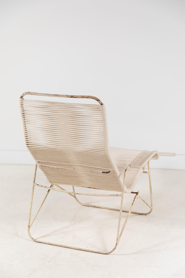 Pair of Metal and Rope Outdoor Lounge Chairs in the Style of Walter Lamb For Sale 2