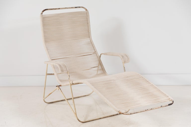 Pair of Metal and Rope Outdoor Lounge Chairs in the Style of Walter Lamb For Sale 3