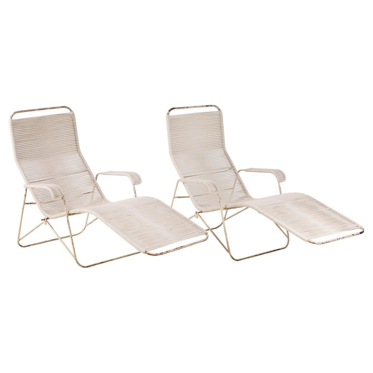 Pair of Metal and Rope Outdoor Lounge Chairs in the Style of Walter Lamb For Sale