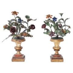 Pair of Metal and Wood Floral Garnitures