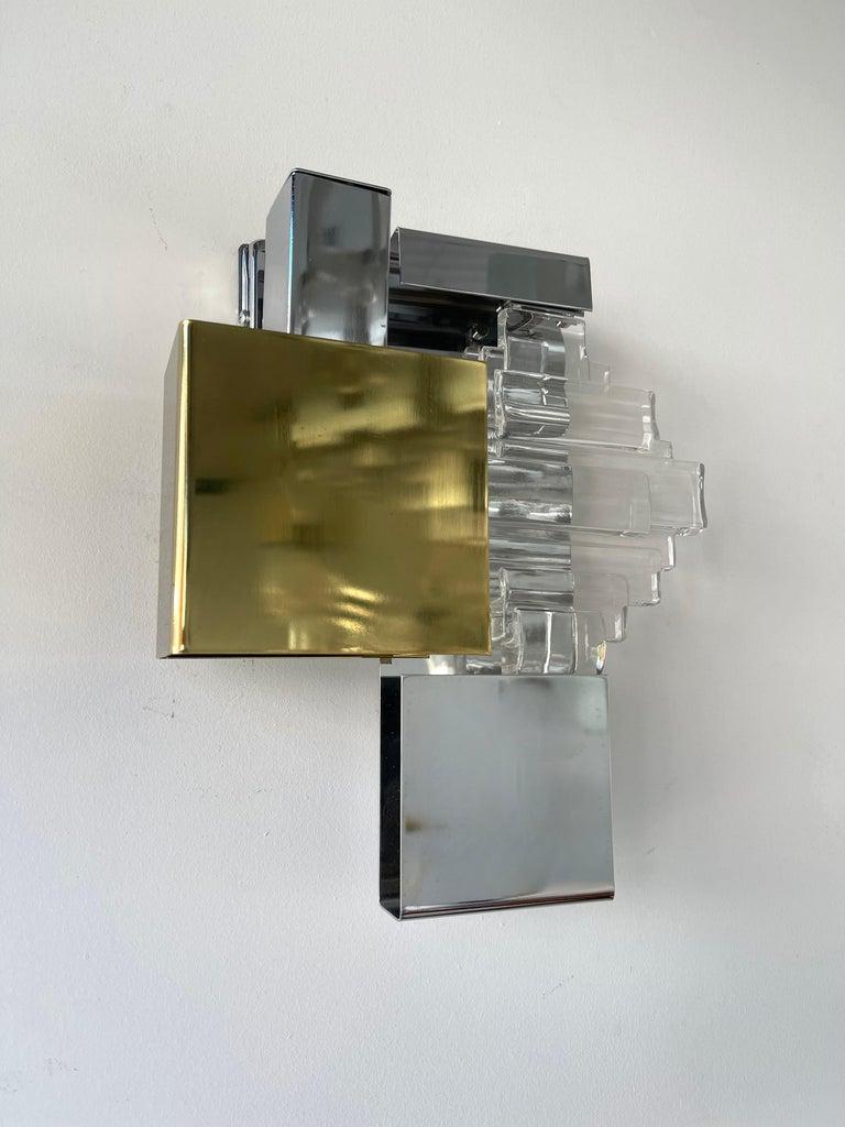 Italian Pair of Metal Brass Glass Sconces by Sciolari for Stilkronen, Germany, 1970s For Sale