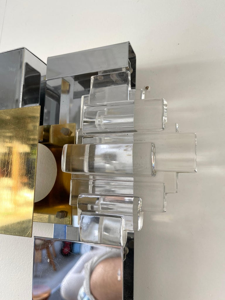Pair of Metal Brass Glass Sconces by Sciolari for Stilkronen, Germany, 1970s In Good Condition For Sale In SAINT-OUEN, FR