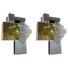 Pair of Metal Brass Glass Sconces by Sciolari for Stilkronen, Germany, 1970s