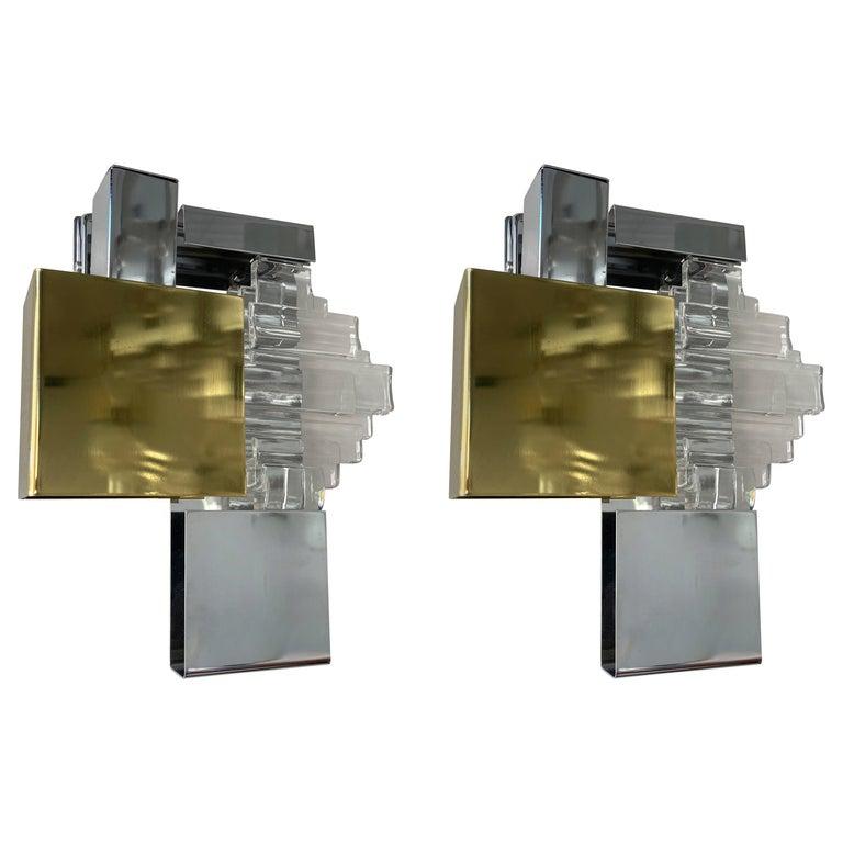 Pair of Metal Brass Glass Sconces by Sciolari for Stilkronen, Germany, 1970s For Sale