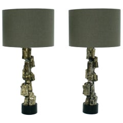Pair of Metal Brutalist Table Lamps Designed by Maurizio Tempestini