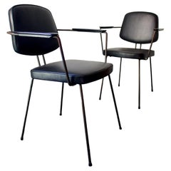 Pair of Metal Chairs by Rudolf Wolf, Black Leather Upholstery, Netherlands