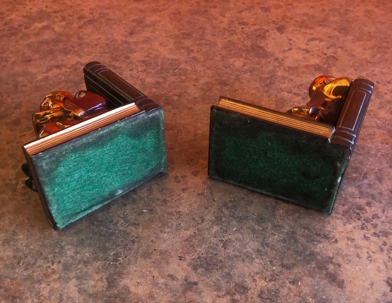 Pair of Metal Clad Art Deco Bookends by Ronson Art Metal Works For Sale 5