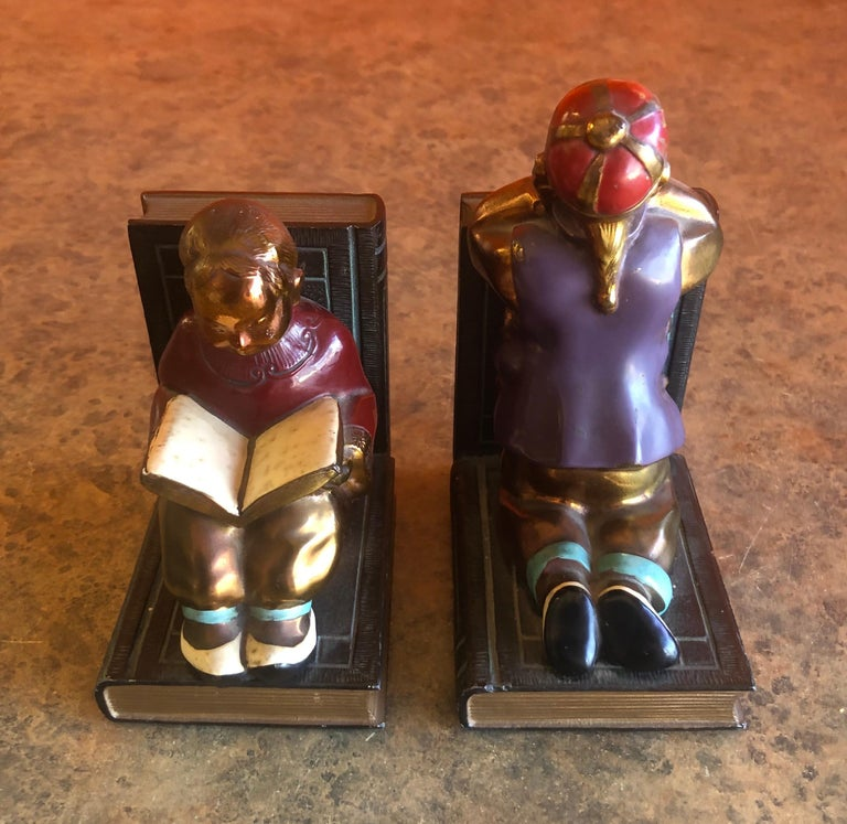 20th Century Pair of Metal Clad Art Deco Bookends by Ronson Art Metal Works For Sale