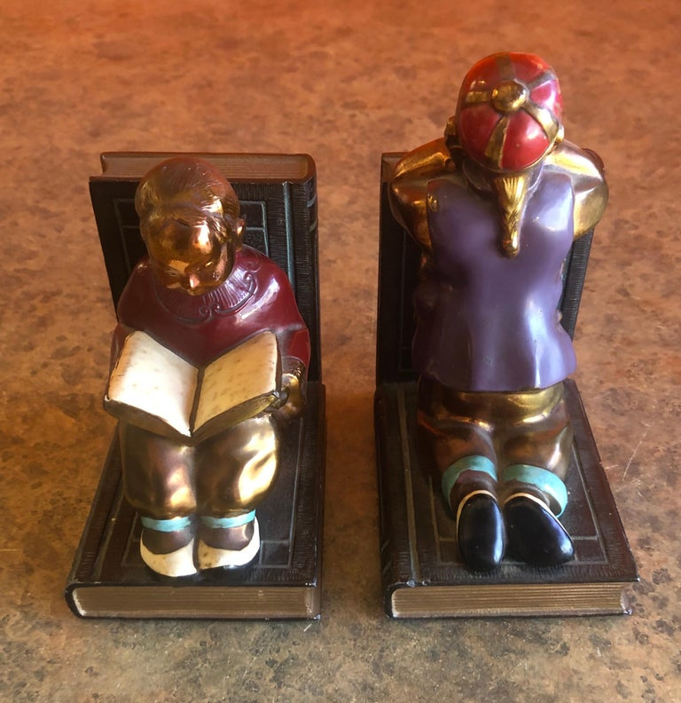 Pair of Metal Clad Art Deco Bookends by Ronson Art Metal Works For Sale 1