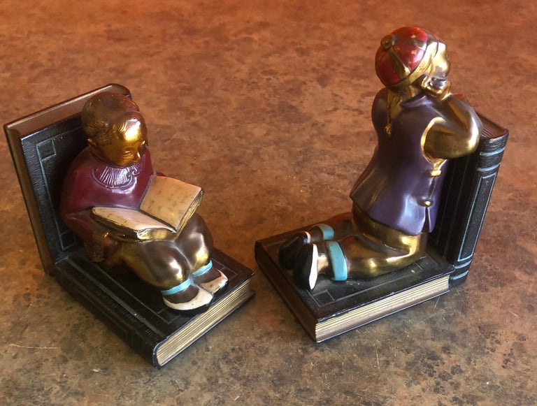 Pair of Metal Clad Art Deco Bookends by Ronson Art Metal Works For Sale 2