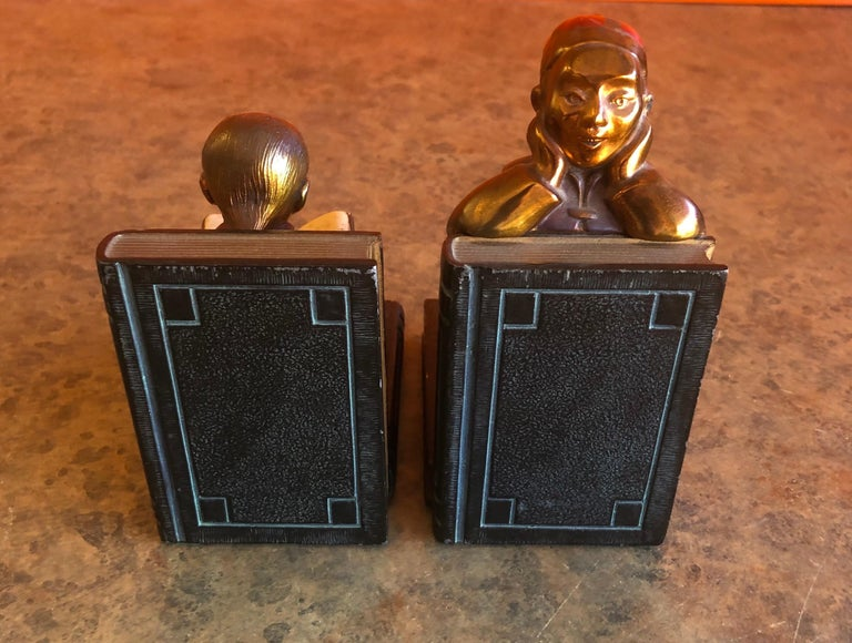 Pair of Metal Clad Art Deco Bookends by Ronson Art Metal Works For Sale 3